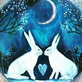 Kissing Hares blank card